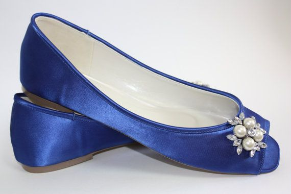 Blue Wedding Shoes   Flat Bridal Shoes   Choose From Over 100 Colors    Custom Wedding Flats   Comfortable Wedding Shoe   Pearl And Crystals