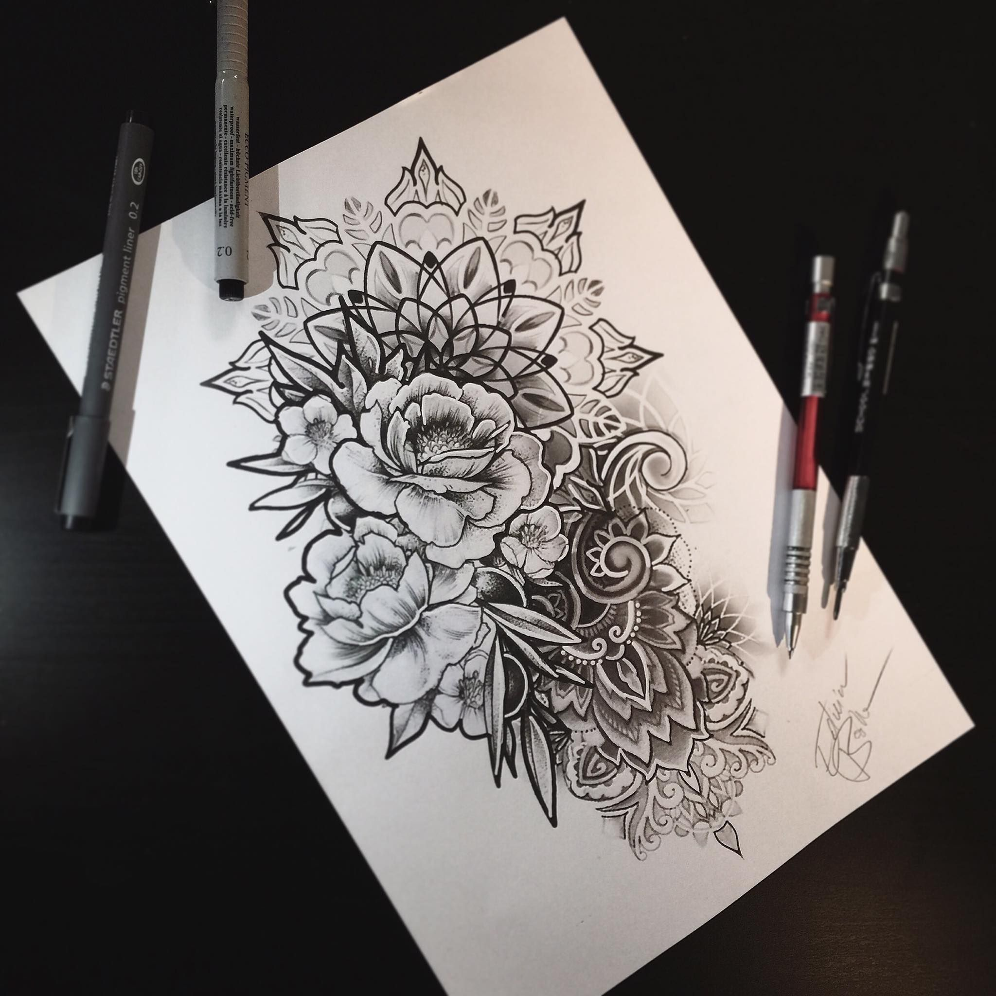 Fiori Tattoo.Flowers Tattoo Mandala Mandala Tattoo Tatuaggio Mandala Fiori