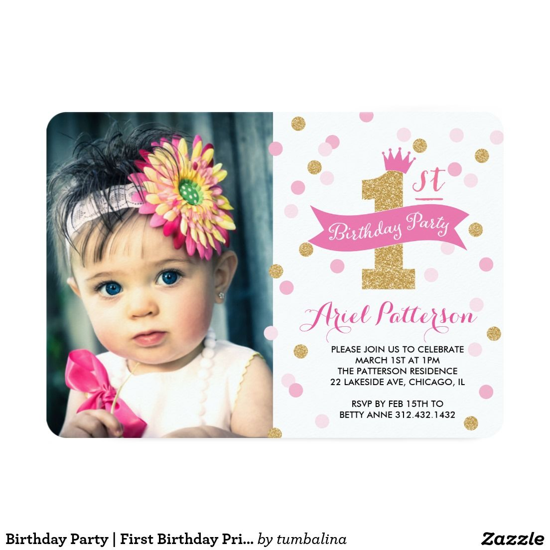 Birthday Party | First Birthday Princess Photo Invitation | All ...