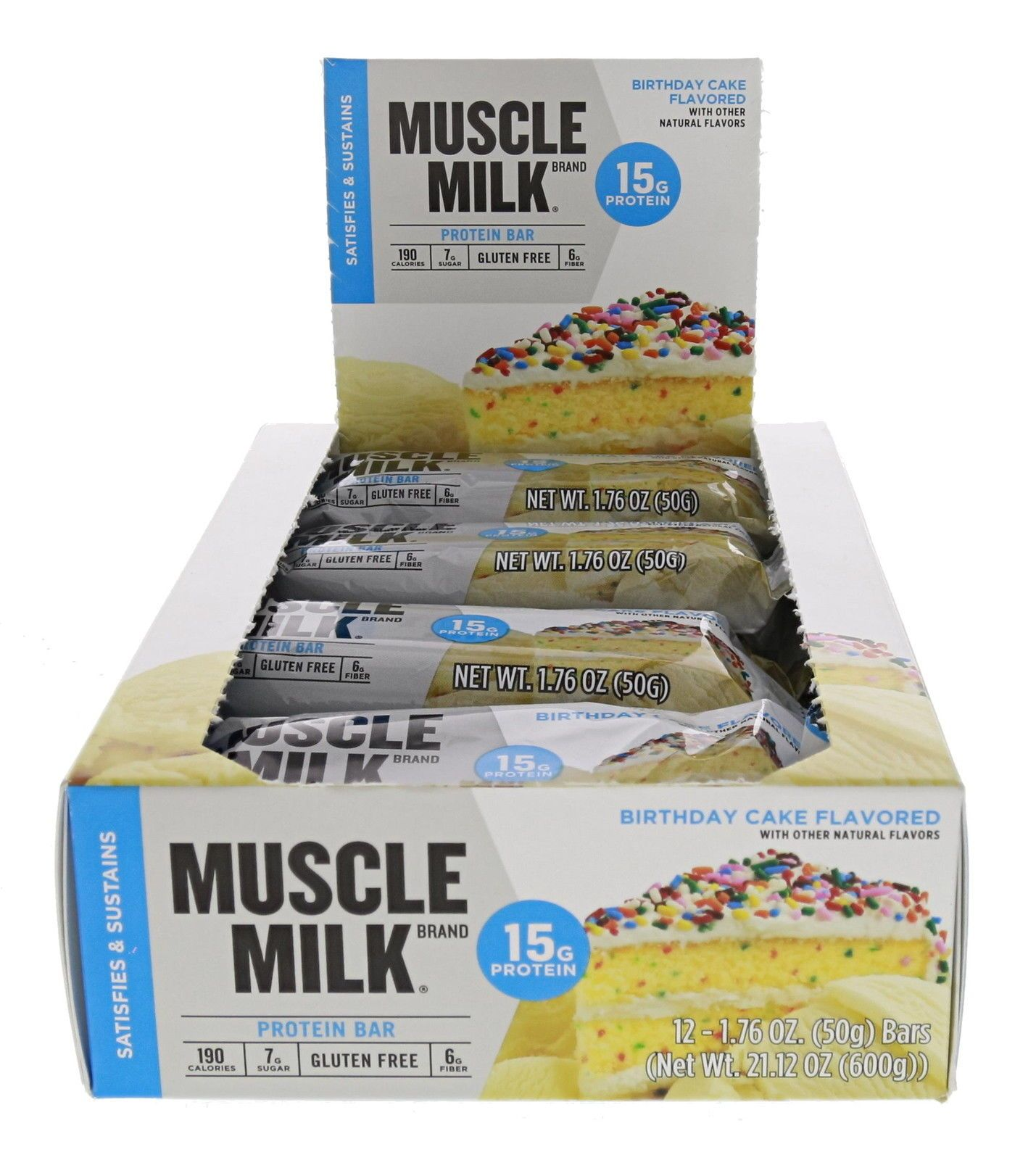 Cytosport Muscle Milk Blue Bar Birthday Cake 12 176oz Bars