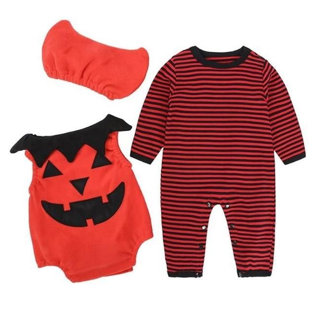 36f6a8ecd52 TANGUOANT Kids Halloween Clothing Set Baby Boy Girls Romper Pumpkin Cosplay  Costume Cotton Cartoon Suit Clothes