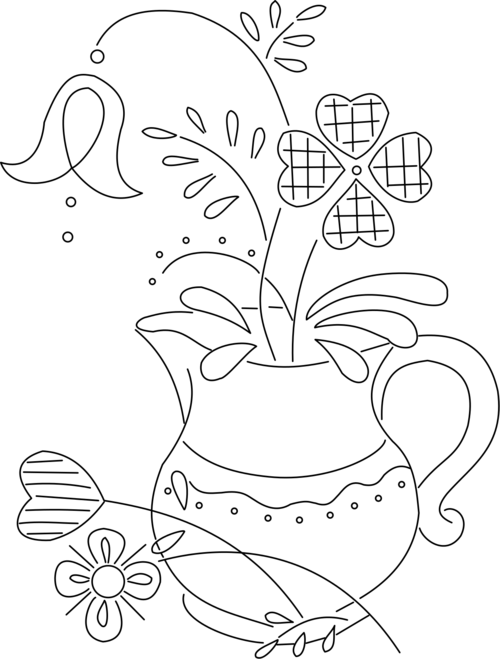 pitcher and flowers - embroidery pattern   Colouring in sheetes ...