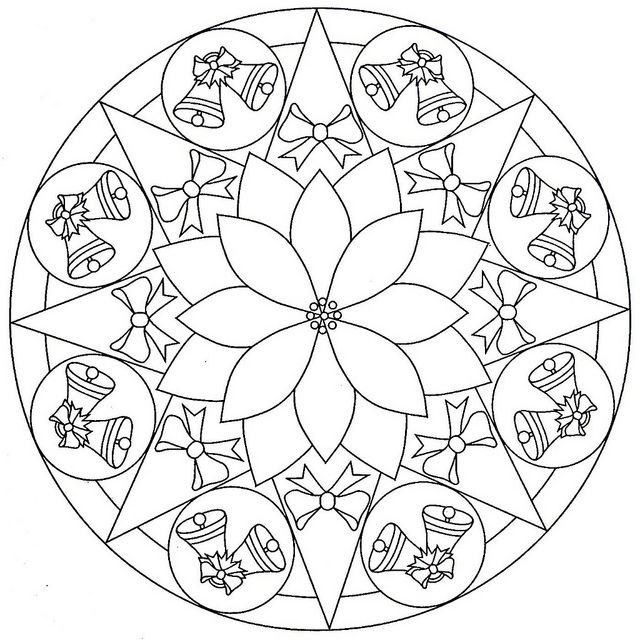 free christmas mandala coloring pages 2 - Christmas Mandalas Coloring Book