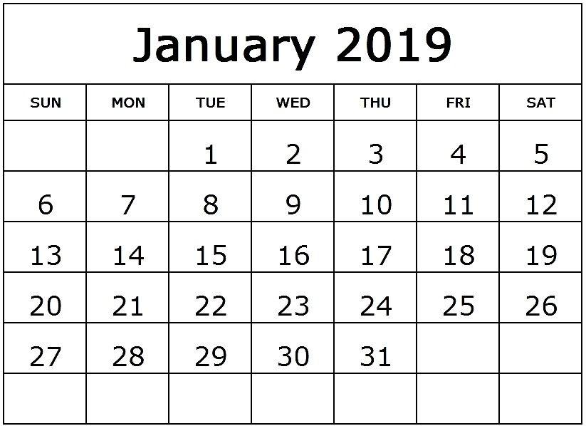 Monthly Calendar Template January 2019 #JanuaryCalendar #January2019