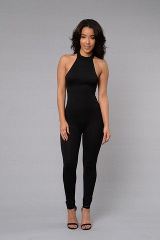 759f9bd46d0 Available in Black and Taupe - Halter Neck - Open Back - Skinny Leg - Made  in USA - 95% Polyester 5% Spandex