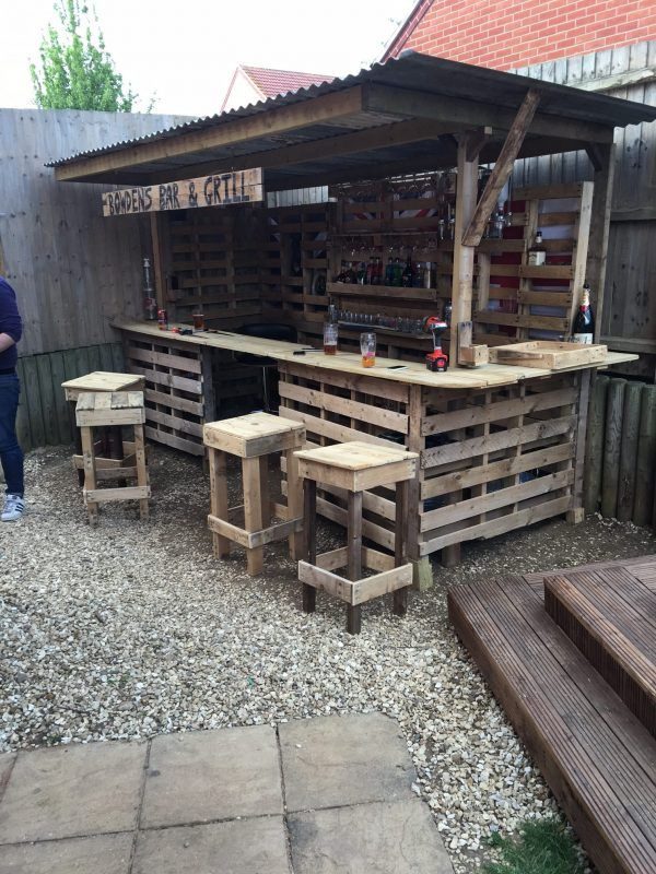 Making the ultimate garden bar using pallets id es de for Exterieur palette