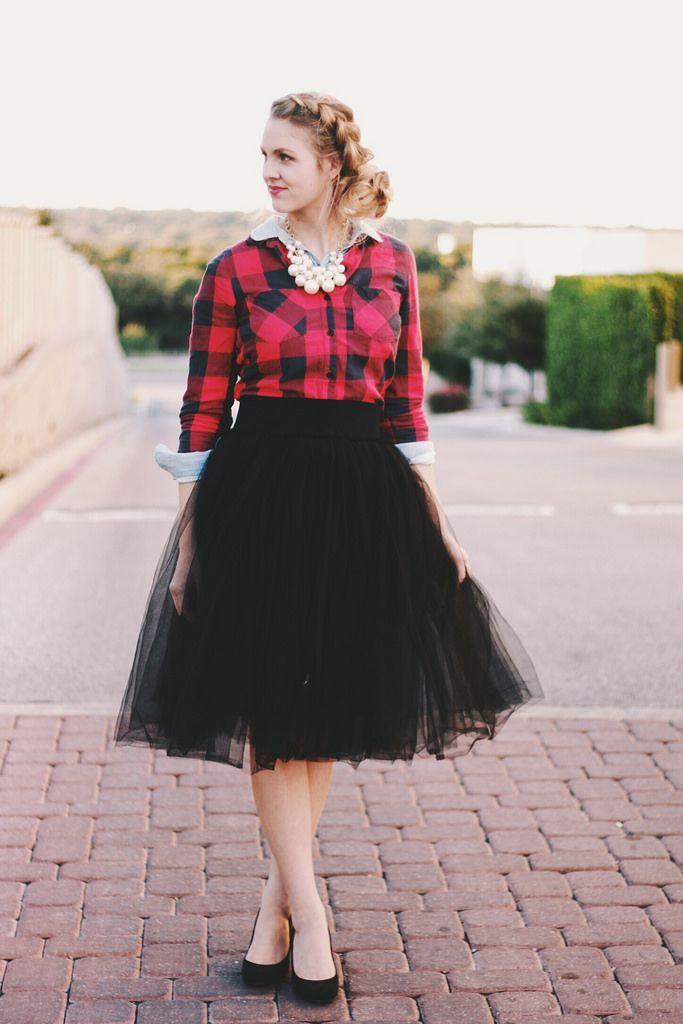 4ea34b10d Fashion Friday - Oh Happy Heights {Fancy Black Tulle Skirt, Plaid Shirt,  Chunky Pearls} #modestfashion