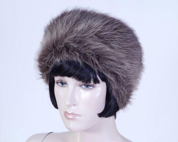 05c40452cad318 Vintage 1980s Women's Brown Faux Fur Hat - Pillbox Style - Fun Fur Hat - Winter  Hat