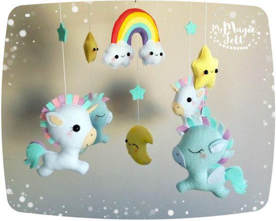 Bebé móvil unicornio bebé móvil pegasus blanco móvil mágico cuna ...