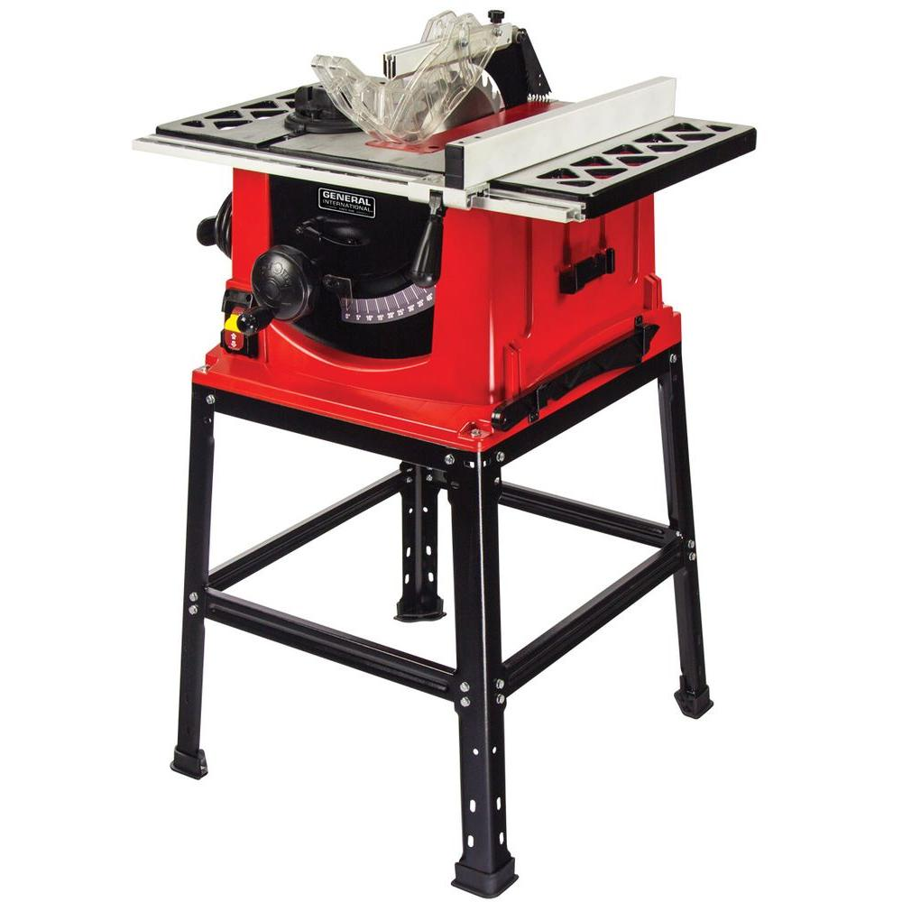 General International 13 Amp 10 In Table Saw With Stand 10 Inch Table Saw Table Saw Portable Table Saw