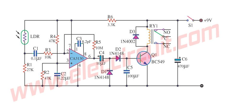 2 Light Detector Circuits using IC-555 and C3140 | Light detector ...