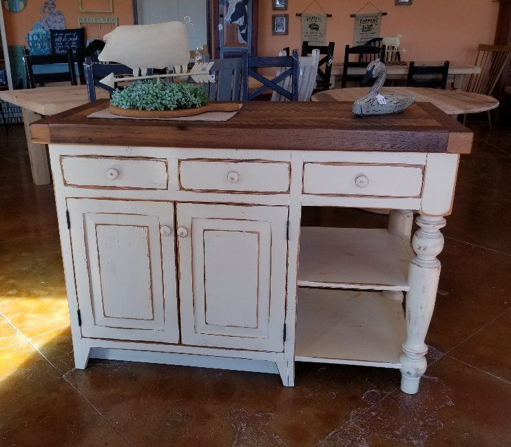 Reclaimed Pine Barnwood 4 1 2 Ft Kitchen Island Finished In A Cream Distress With An Amer Reclaimed Barnwood Furniture Barn Wood Decor Kitchen Island Finishes