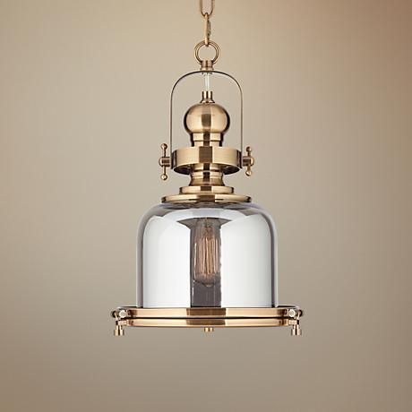 Elida Antique Brass 11 Wide Chrome Glass Mini Pendant Light 1f211 Lamps Plus Mini Pendant Lights Brass Kitchen Lighting Pendant Light