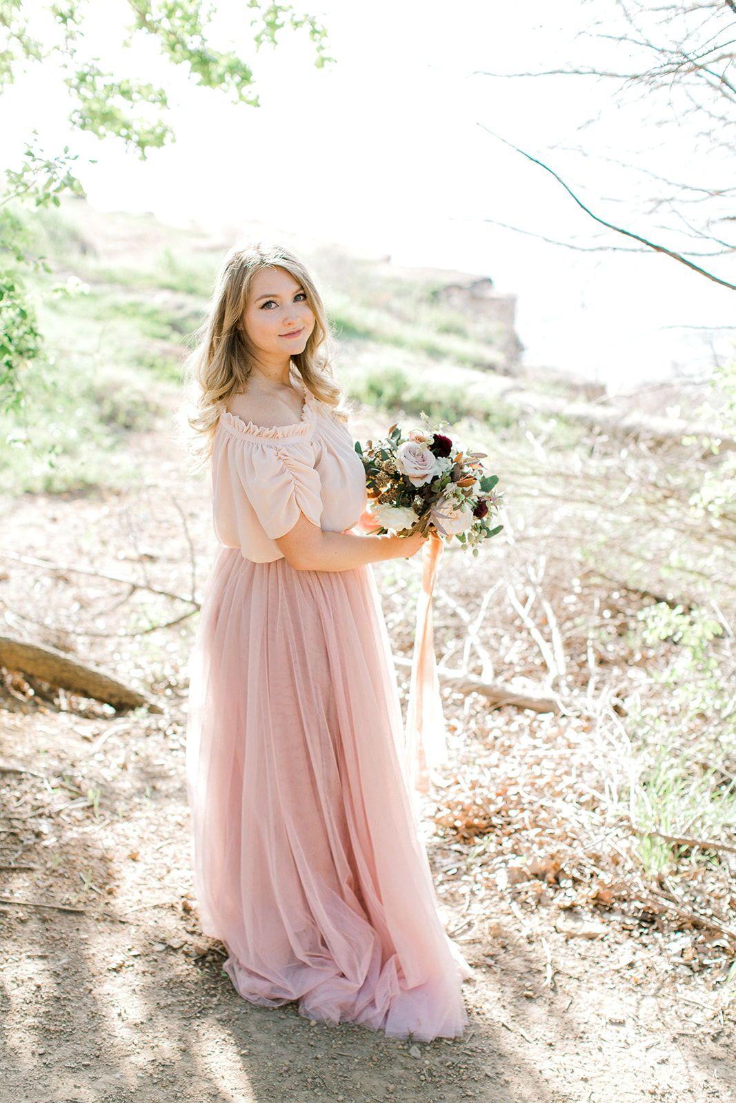 Flowy off the shoulder boho wedding dress for destination beach