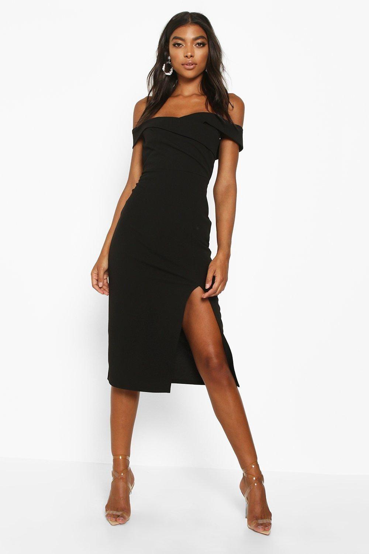 Spot Pop Fashion Dresses Black Midi Dress Clothing For Tall Women [ 1500 x 1000 Pixel ]