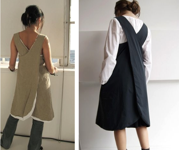 Modern Apron Apron Dress Navy Cross Back Linen Apron Handmade Apron