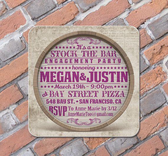 Custom Coasters - Wine Cask Stock the Bar Invitation - Optional Craft Paper Envelopes & sealing stickers - Rehearsal Shower birthday