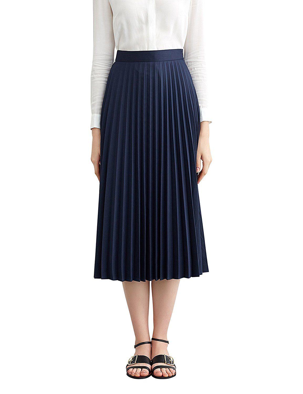 d51f1fccbc 1920s Skirt History Simple Retro Womens High Waist Basic Pleated A-line Midi  Skirt AT