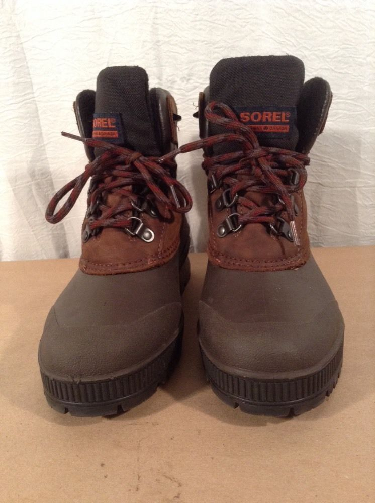 Womens SOREL Boots 7 Brown Leather Rubber Kaufman Canada