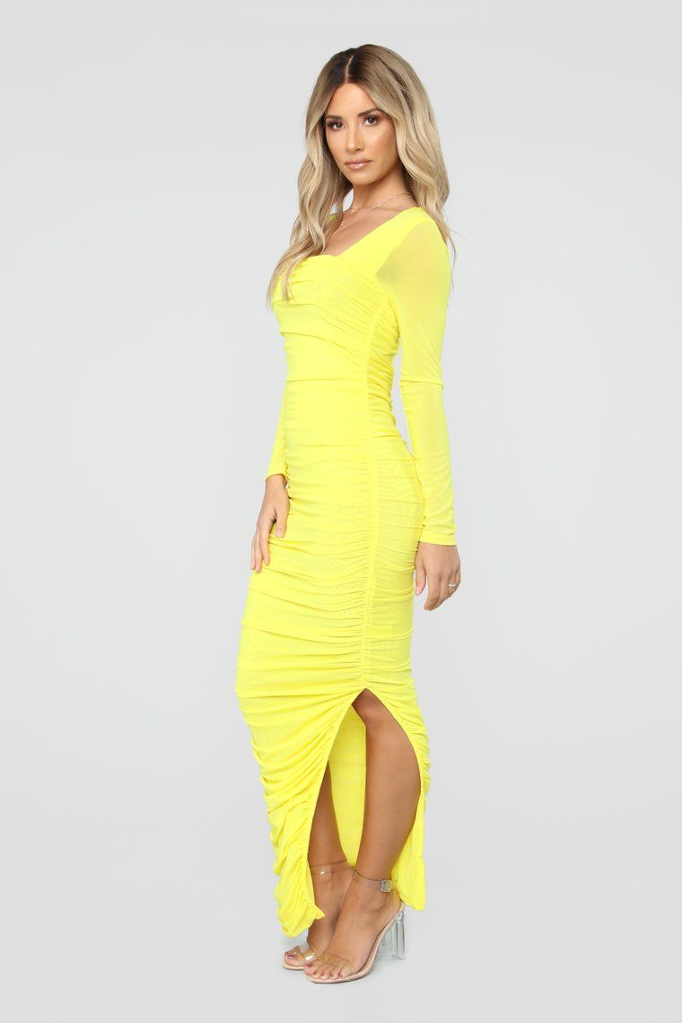 Body Lookin' Right Ruched Maxi Dress Yellow (With images
