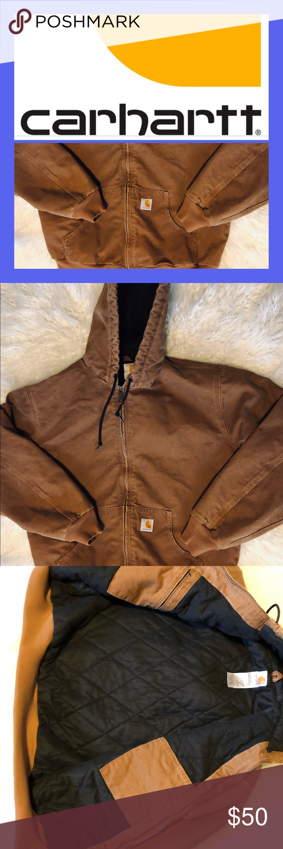 "Carhartt Womens Sz L Active Jac Heavy-Duty Jacket Carhartt Women Style WJ130 Quilted Flannel-Lined Active Jac in ""Carhartt Brown"" Size Large. Jacket measures 24"" armpit to armpit and 26"" shoulder to waist. Jacket is in Pre-Owned, Excellent Condition......free of any rips, stains, tears, odors or any other flaws. ***Please note the last two photos are stock photos from the company website. The first photo shows the jacket on a model and the second has the companies description*** Carhartt Jackets #carharttwomen"