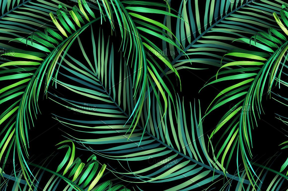 Jungle palm leaves. Tropical pattern Palm leaf wallpaper