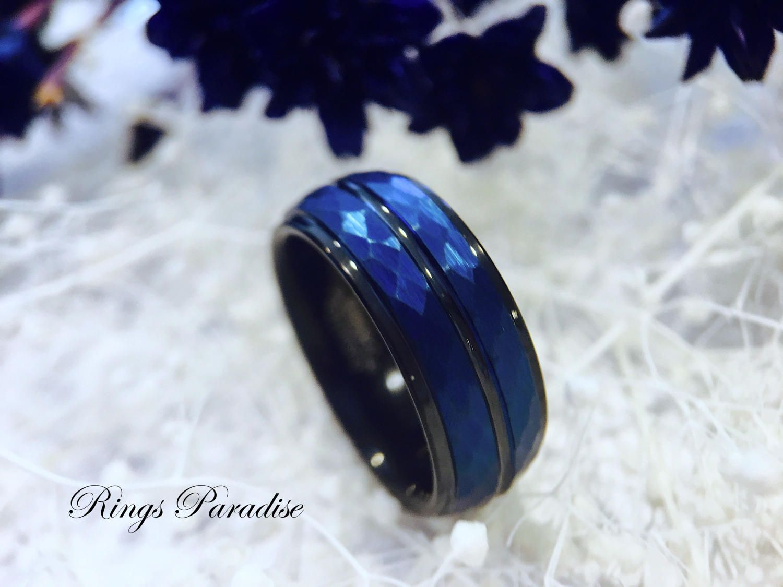 Blue Wedding Bands Mens Blue Rings Mens Engagement Rings Blue Tungsten Ring Men W Mens Wedding Rings Black Engagement Rings For Men Tungsten Wedding Bands