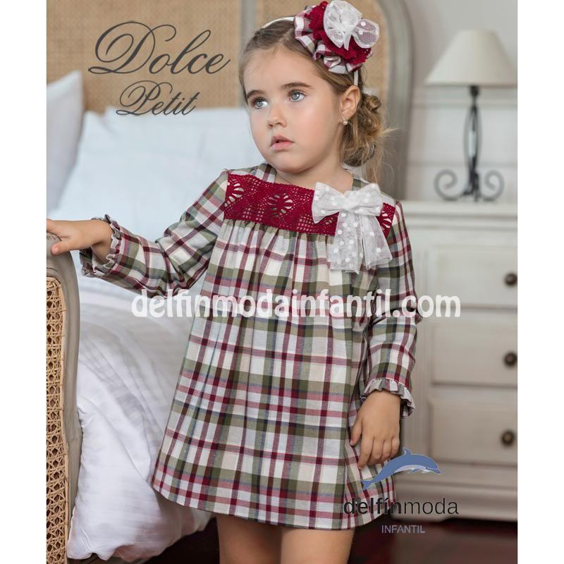comprar múltiples colores zapatos deportivos Vestido de niña manga larga DOLCE PETIT trapecio cuadros 2230-V ...