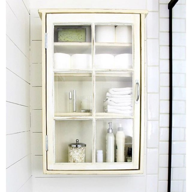 """""""I love this medicine cabinet! Can you believe it was made with an old window? ❤️ I love a great DIY project!  You can find this and so many other great remodeling and DIY ideas on @remodelaholic!  Are you following her?"""" Photo taken by @theidearoom on Instagram, pinned via the InstaPin iOS App! http://www.instapinapp.com (10/08/2015)"""