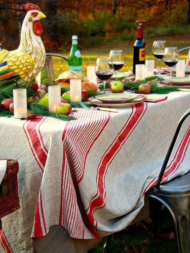 Red Linen Tablecloth Provence♥♫