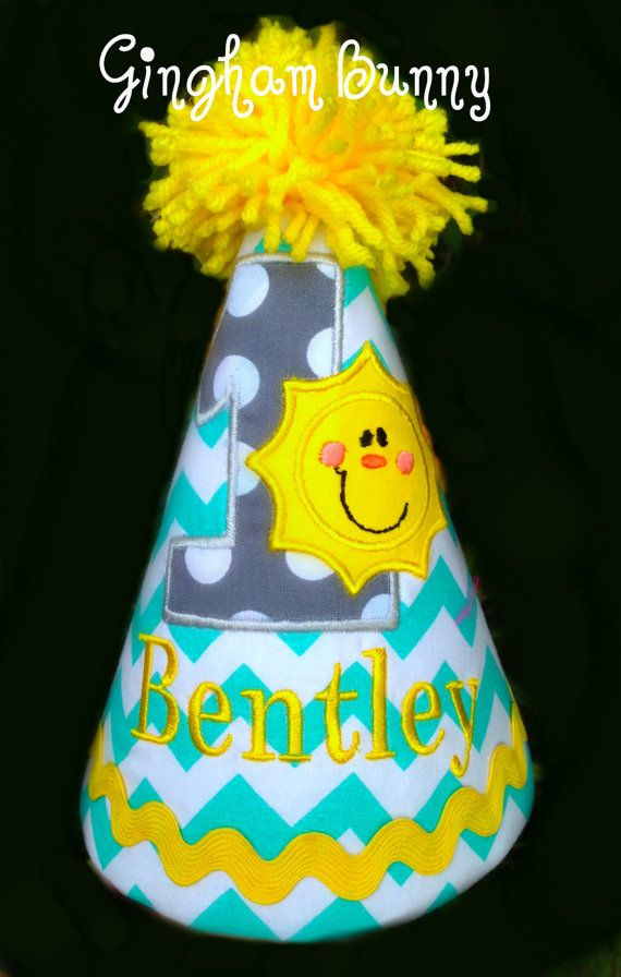 My Little Sunshine Birthday Hat Boy Or Girl 2nd By Ginghambunny