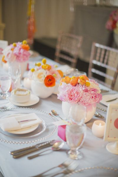 #peony #ranunculus #centerpiece Photography by bethandty.com  Read more - http://www.stylemepretty.com/2013/09/04/burlington-ontario-wedding-from-kj-co-beth-ty-in-love/