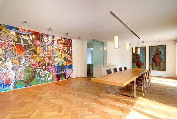 wohnraum #esszimmer #esstisch #parkett #kunst #wohnküche