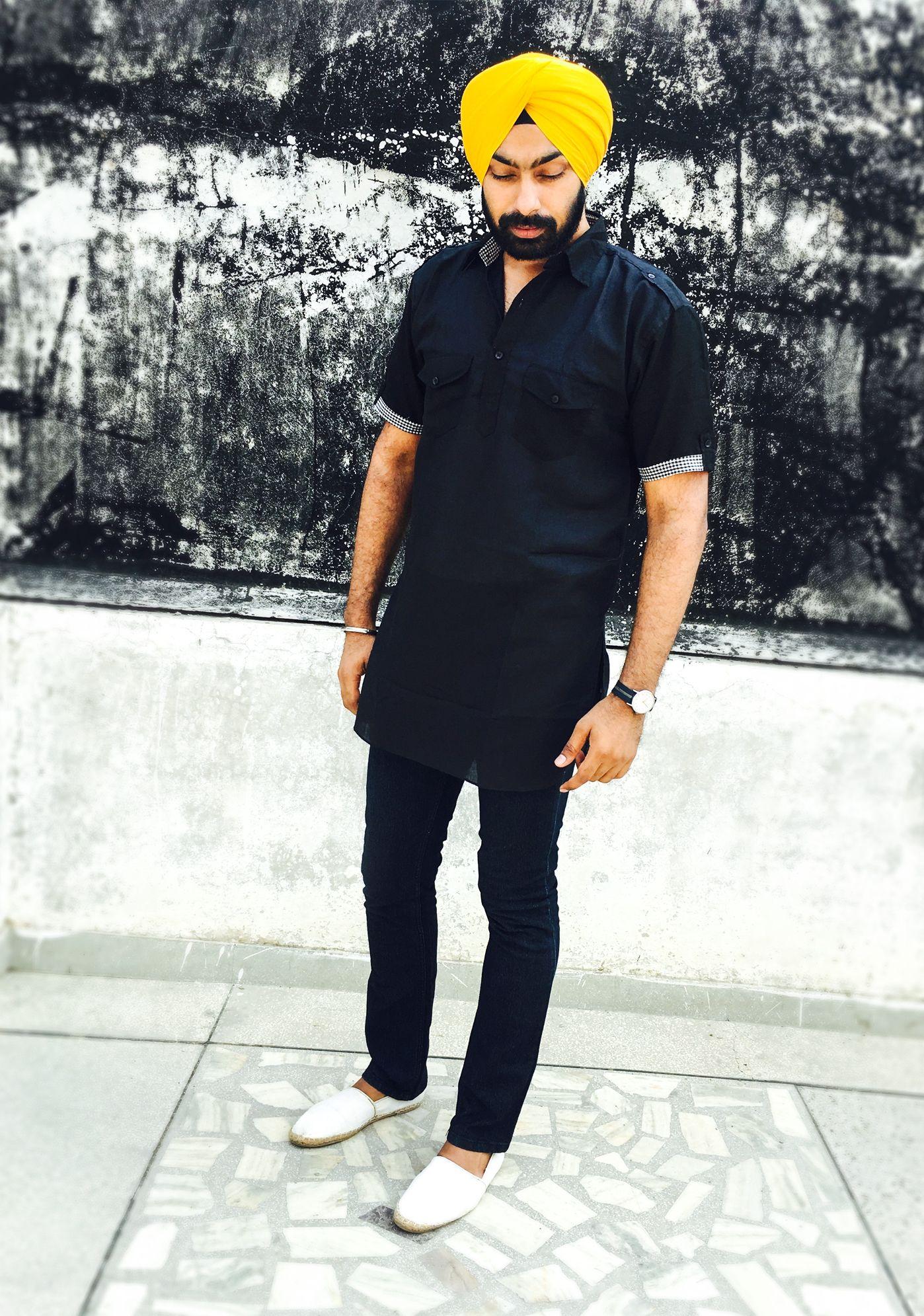 Men's fashion Punjabi Sikh, Yellow Turban, Black Kurta ...
