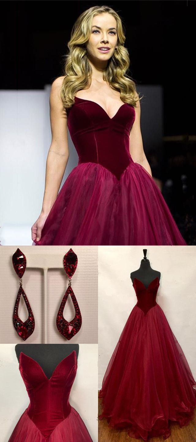 Gorgeous strapless long burgundy prom dressevening dress from