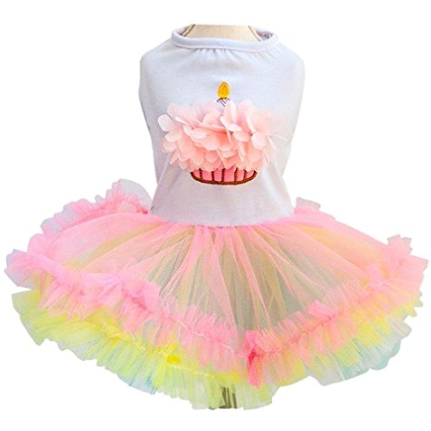 Ollypet Cute Dog Birthday Dress for Girls Dogs Clothes Cupcake Tutu Apparel Small Cats Puppy Yorkie Medium >>> You can get additional details at the image link. (This is an affiliate link) #ApparelAccessories