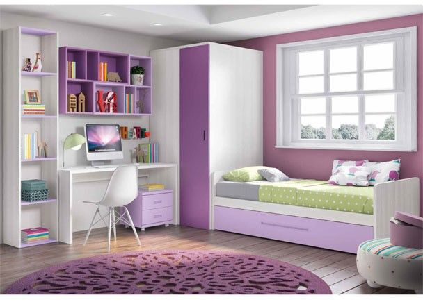 Habitaci n infantil con armario y cama nido mobiliario juvenil morado lila pinterest - Armario habitacion infantil ...