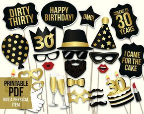 30th birthday photo booth props: printable PDF. Black and gold. Dirty thirty props. Thirtieth birthday party supplies. Mustache, lips.