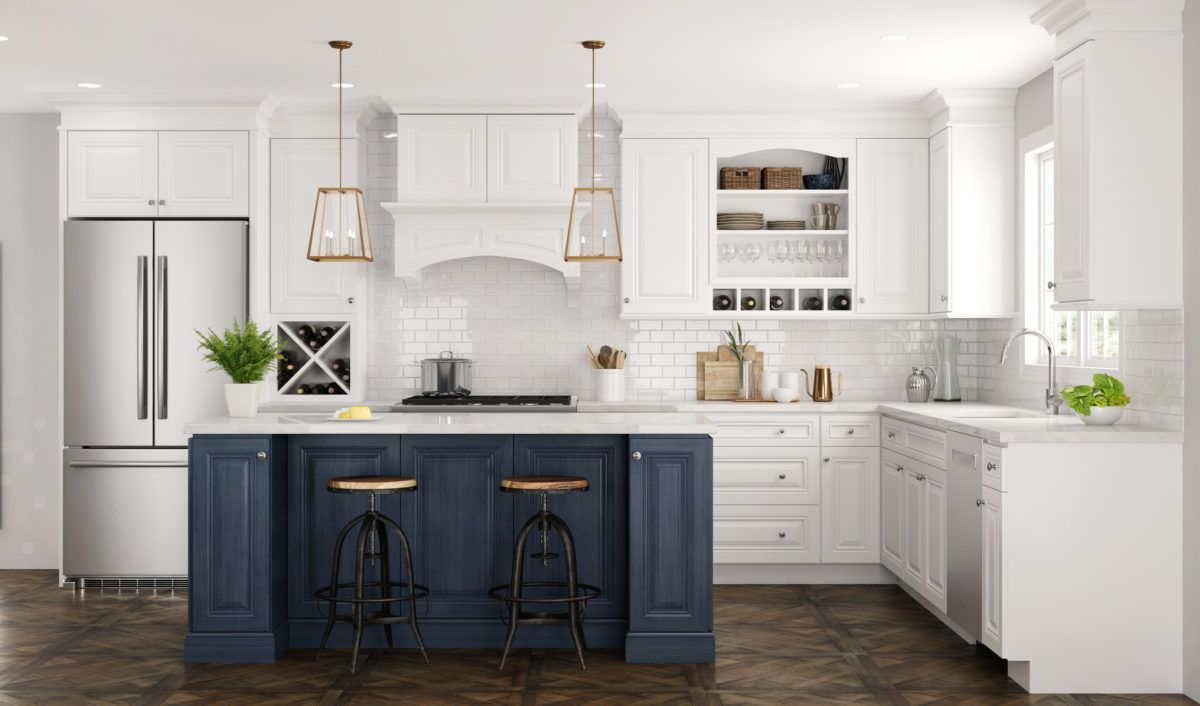 Gorgeous Blue And White Cabinets Promote Refinement And Elegance Cabinet Doors And Drawers F Kitchen Cabinet Styles House Design Kitchen Blue Kitchen Cabinets