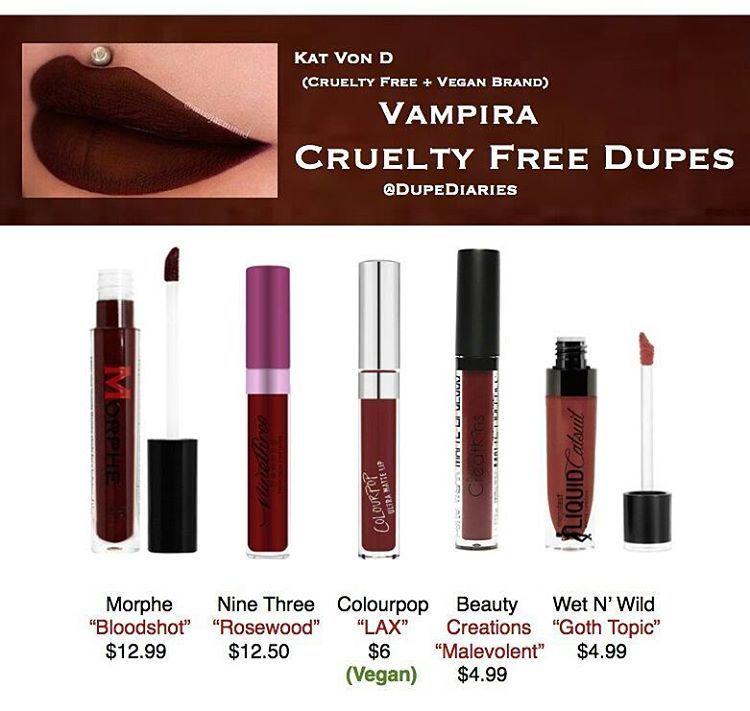 Kat Von D Kvd Vampira Dupes All Cruelty Free Some Vegan