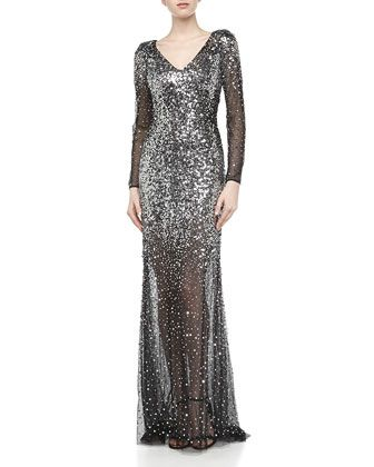 6828997bdf84f Three-Quarter Sequin-Encrusted Mesh Gown, Black/Silver by Basix Black Label  at Neiman Marcus Last Call.
