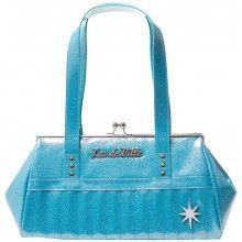 LUX DE VILLE STARLITE KISS LOCK PURSE BLUE SPARKLE
