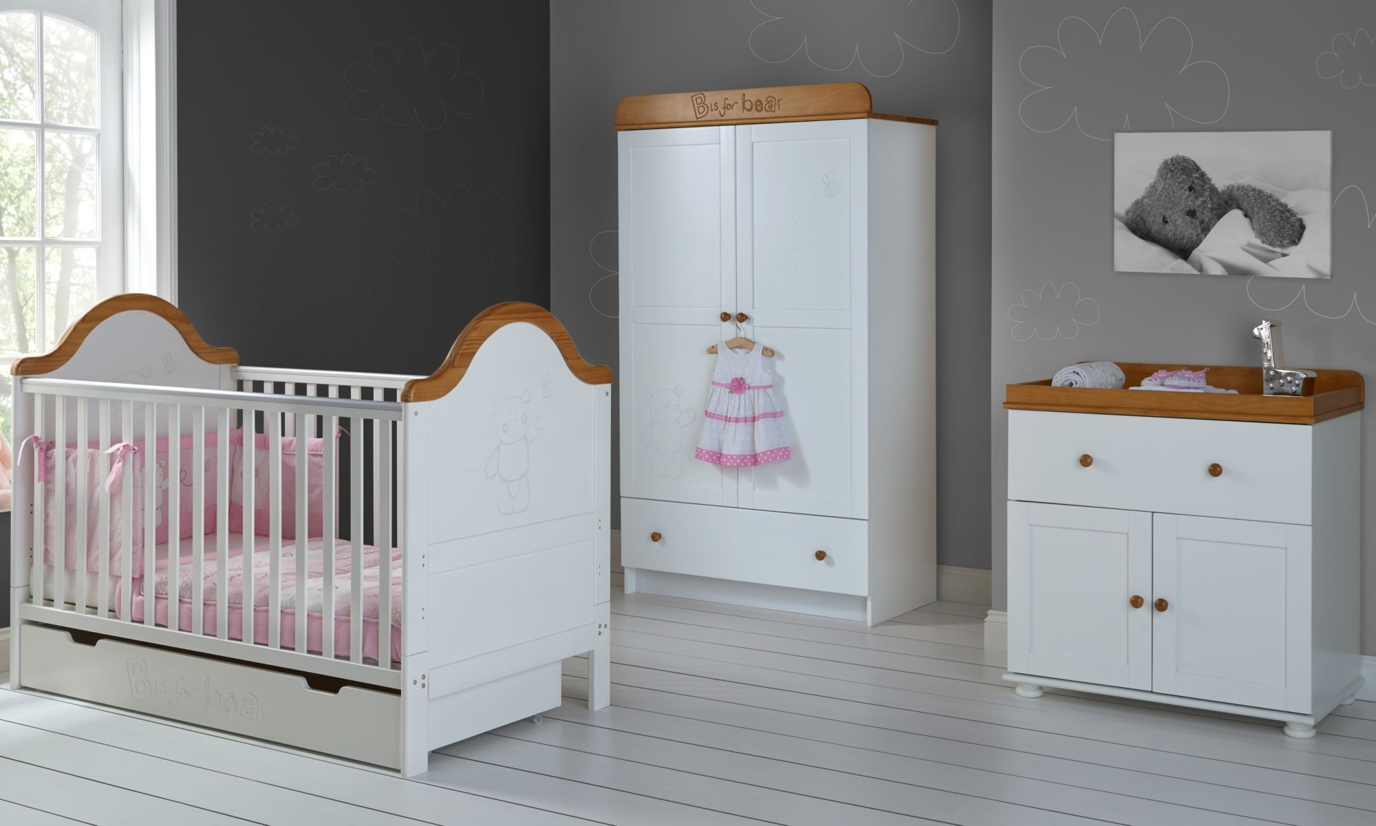 Obaby B Is For Bear Premium 4 Piece Nursery Furniture Room Set White And Pine