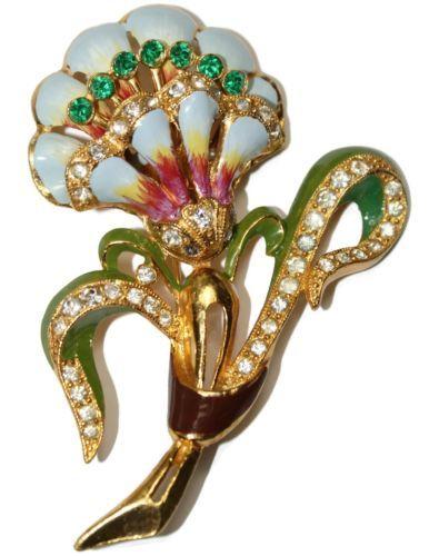 Coro Enamel Rhinestone Floral Pin Brooch