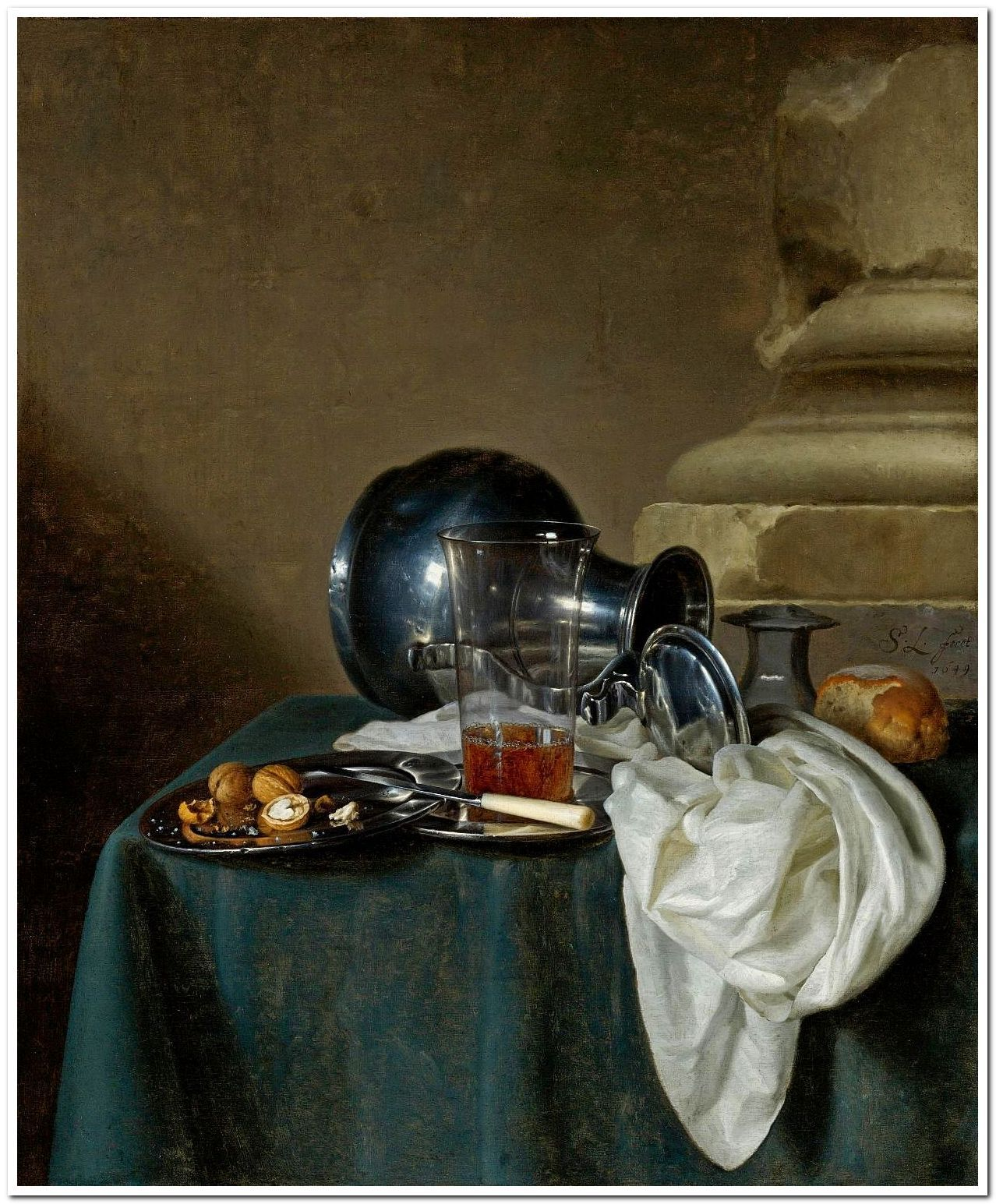 Still Life with Pewter Jug, glass of ale and other objects.1649. Simon Luttichuys. Dutch 1610-1661. oil/canvas.