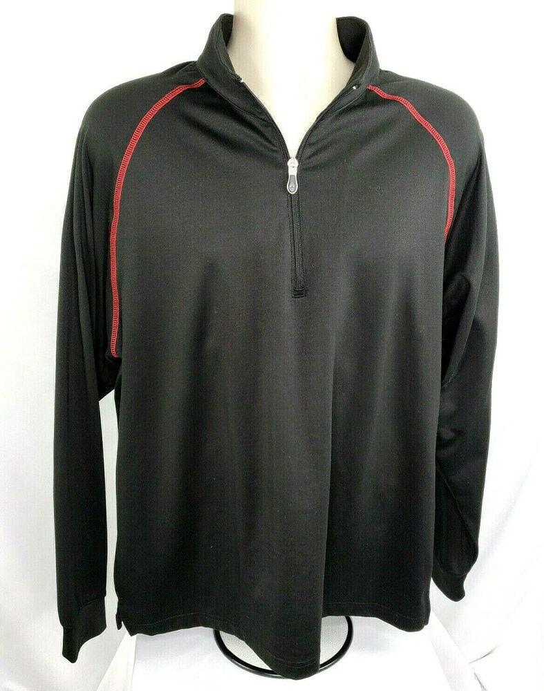 Bolle Golf Tech Mens M Half Zip Pullover Raglan Sleeves Black Euc Boll Pullover Activewear Half Zip Pullover Mens Golf Outfit Pullover
