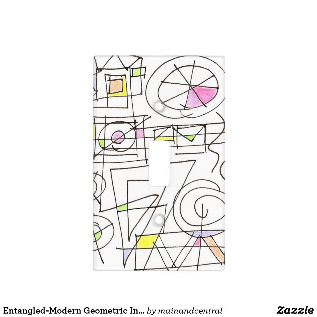 Entangled Modern Geometric Ink Art Light Switch Cover