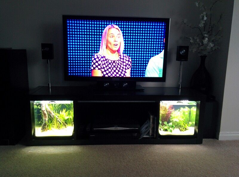 tv stand tropical fish slide out aquarium led lighting