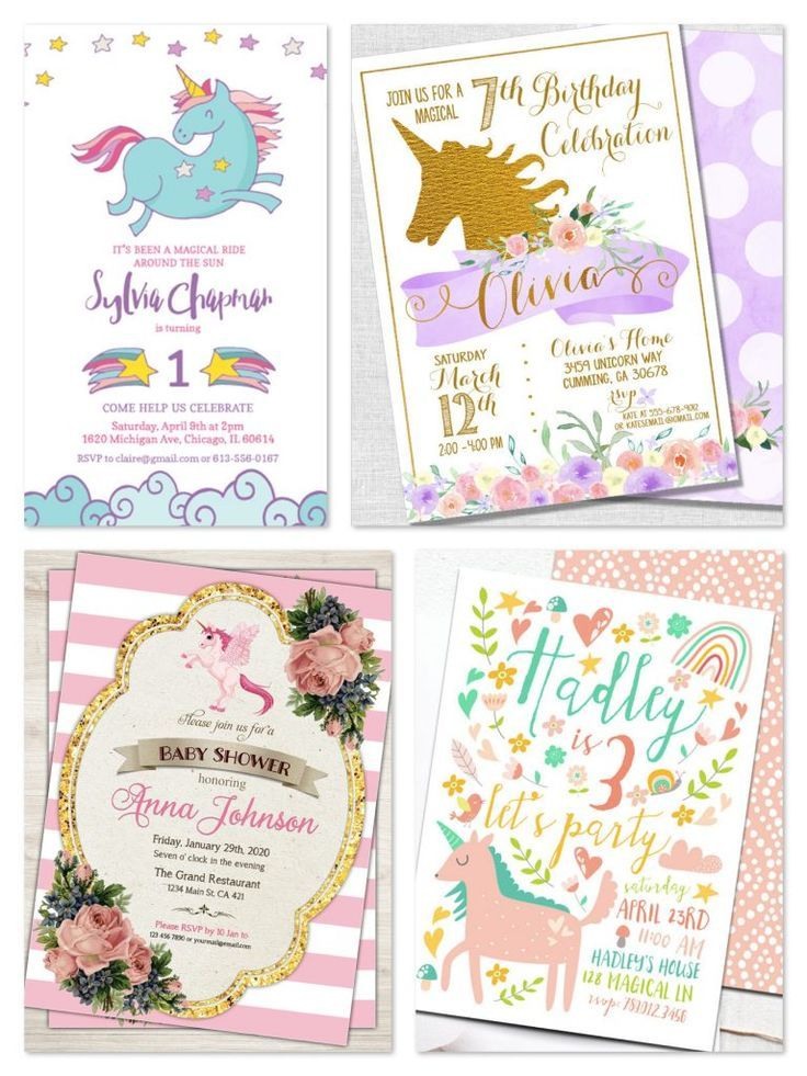 Printable unicorn party invitations pretty party printables printable unicorn party invitations half birthdayunicorn filmwisefo Images