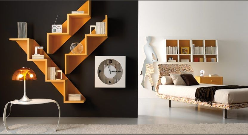 11 Contemporary Teen Bedroom Designs From Tumidei U2013 Contemporary Black And  White Teen Bedroom Design With Unique Bookshelf